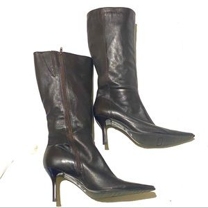 Diba Leather Knee High Boots Brown Pointed Toe 11